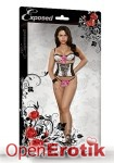 Bra, Waist Cincher and G-String Set - L/XL (Magic Silk - Vintage Dots)