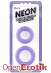 Neon Stretchy Silicone Cock Ring Set - Purple (Pipedream)